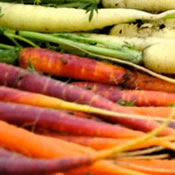 Heirloom carrots at the market